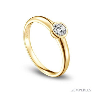 bague or jaune diamant serti
