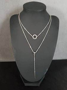 collier argent 2 rangs