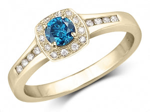 diamant bleu bague or