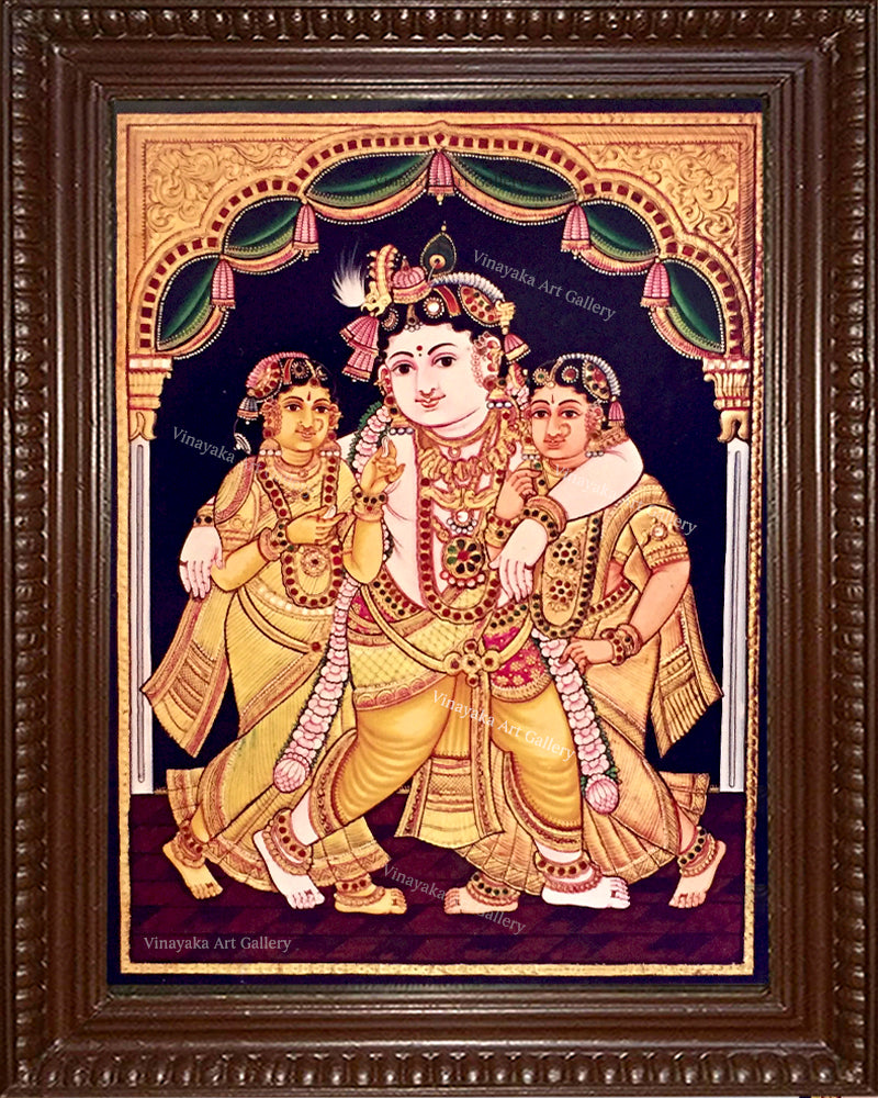 Krishna with Bama and Rukmani