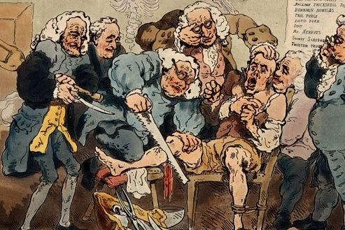 Face masks were invented to protect from splashes of fluid during operations in the 1700s, not to protect from air pollution.Medieval Surgery showing five doctors amputating patient. Painting by Thomas Rowlandson, 1793. #BeNosy, Nosy