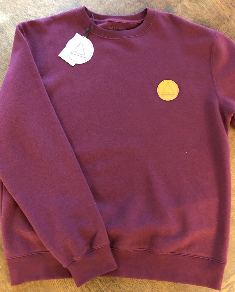 Crew Neck Club Patch - Burgundy  SA150
