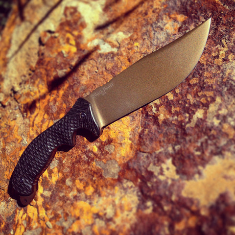 blackheart valkyrie bowie custom combat burnt bronze fighting survival military police knife made in usa.