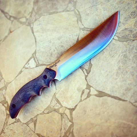 blackheart gunner12 custom knife handmade quality survival honzukuri convex sharpest knives in the world made in usa.