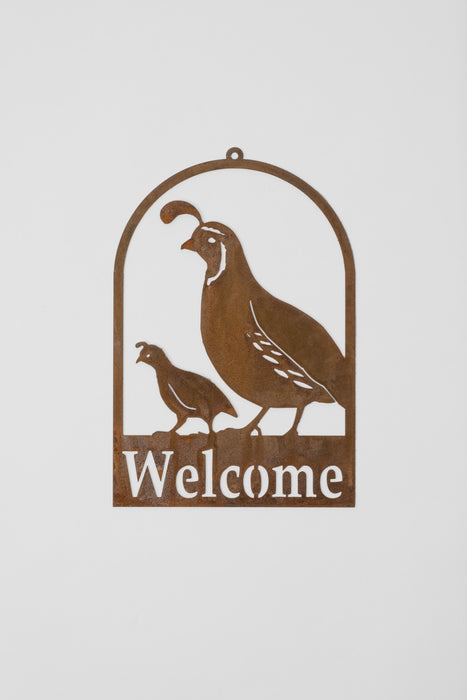 Welcome Quail Sign
