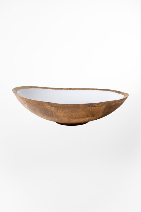 Mango Wood & White Enamel Bowl / XL