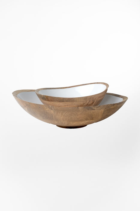 Mango Wood & White Enamel Bowl / LG
