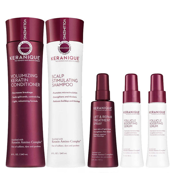 Keranique Thicker Fuller Hair Deluxe System includes the Scalp Stimulating Shampoo, Volumizing Keratin Conditioner, Lift and Repair Treatment Spray and two bottles of Follicle Boosting Serum