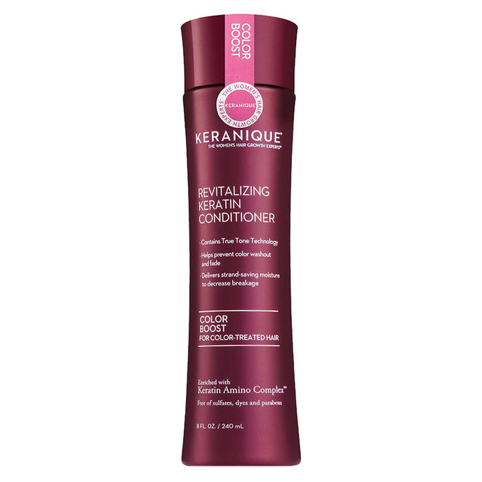 8 oz. bottle of Keranique's Revitalizing Keratin Conditioner - Color Boost for Color-treated hair, helps prevent color washout and fade, free of sulfates, dyes and parabens.