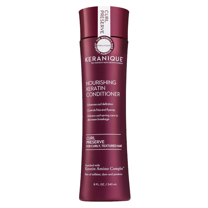 Keranique  Curl Preserve Nourishing Keratin Conditioner for Curly, Textured Hair in 8 oz bottle enhances curl definition, controls frizz and flyaway and delivers curl-saving care to decrease breakage.