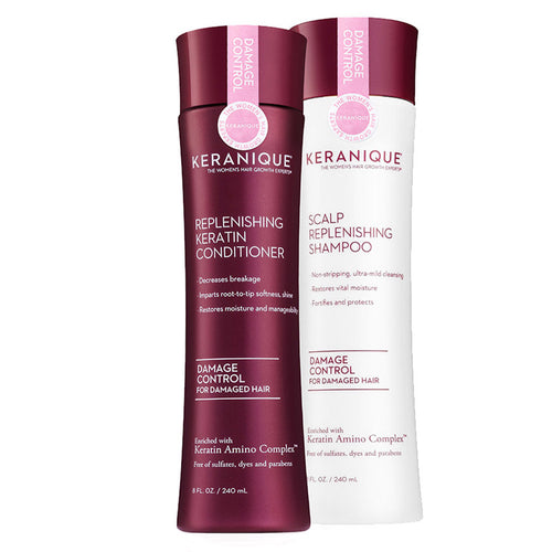 Keranique Damage Control Shampoo and Conditioner Set for Damaged hair in 8 fl. oz bottles helps decrease breakage, cleanses mildly, restores vital moisture, manageability and protects damaged hair.
