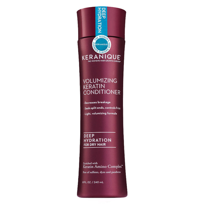 Keranique Deep Hydration Volumizing Keratin Conditioner for Dry Hair in 8 fl. oz bottle decreases breakage, seals split ends, and is a light, volumizing formula.
