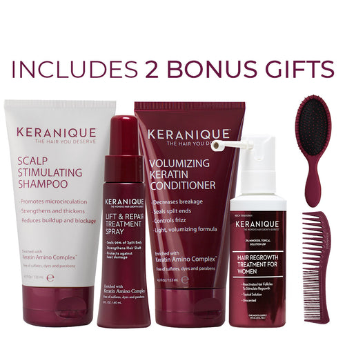 Keranique Hair Regrowth Treatment Deluxe System with two bonus gifts