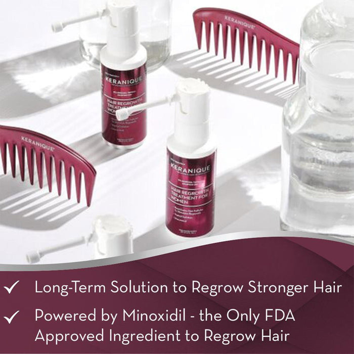 The Keranique Hair Regrowth Treatment is a long-term solution to regrow stronger hair and is powered by Minoxidil - the only FDA approved ingredient to regrow hair