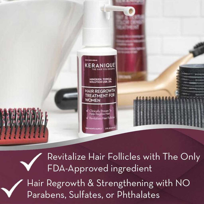 Keranique Hair Regrowth Treatment for Women can revitalize hair follicles with the only FDA approved ingredient. It supports hair regrowth and strengthening with no parabens, sulfates and phthalates