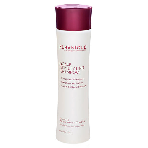 Keranique Scalp Stimulating Shampoo for Thinning Hair in 8 fl oz. promotes microcirculation, strengthens and thickens hair strands and reduces buildup and blockage.