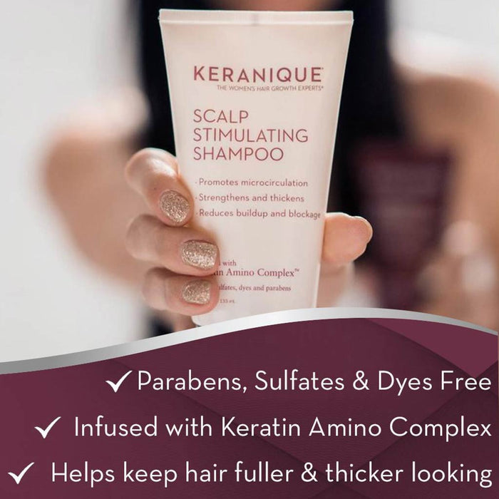 Keranique Deep Hydration Scalp Stimulating Shampoo is parebens, sulfates and dyes free, infused with Keratin Amino Complex and helps keep hair fuller and thicker looking.