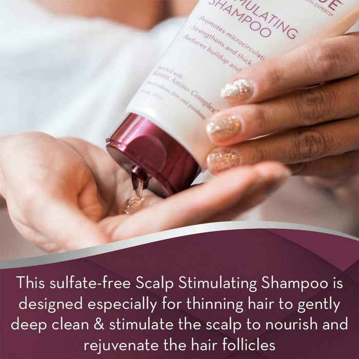 Keranique Color Boost Scalp Revitalizing Shampoo for color-treated hair is a sulfate-free Scalp Stimulating Shampoo that is designed for thinning hair to gently deep clean and stimulate the scalp to nourish and rejuvenate the hair follicles.
