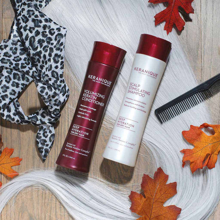 Photo of Keranique Scalp Stimulating Shampoo and Conditioner Set for Thinning Hair in 8 fl. oz bottles