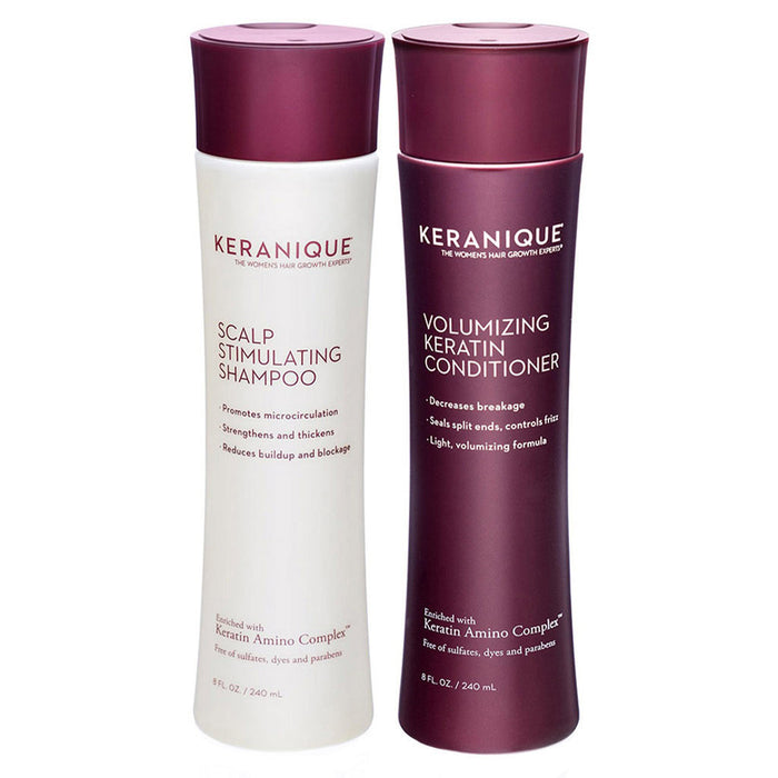Keranique Scalp Stimulating Shampoo and Conditioner Set for Thinning Hair in 8 fl. oz bottles promotes microcirculation, decreases breakage, strengthens and protects your hair.