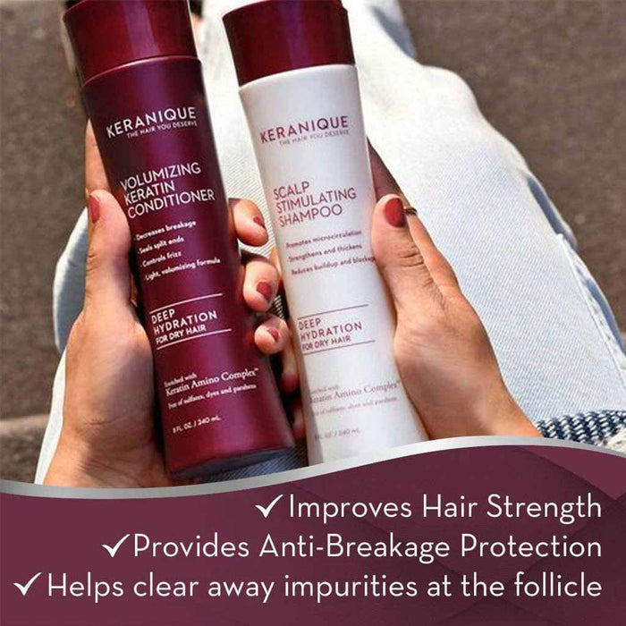 Keranique Scalp Stimulating Shampoo and Volumizing Keratin Conditioner Set for Thinning hair improves Hair Strength, provides anti-breakage protection and helps clear away impurities at the follicle