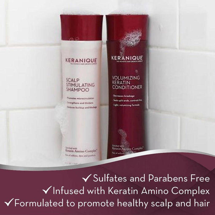 Keranique Scalp Stimulating Shampoo and Conditioner Set for Thinning Hair are sulfates and parabens free, infused with Keratin Amino Complex and formulated to promote healthy scalp and hair
