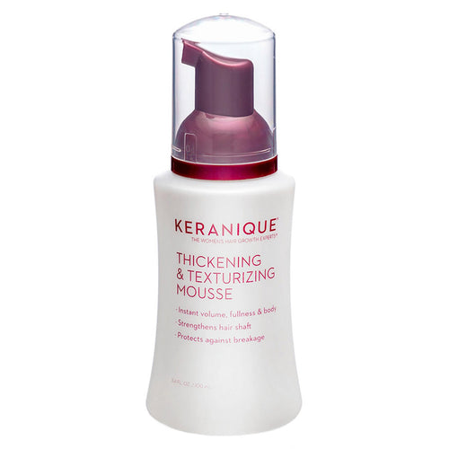 Keranique Thickening and Texturizing Mousse gives instant volume, fullness and body, strengthens hair shaft, and protects your hair against breakage