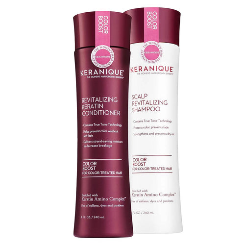 Color Boost Shampoo & Conditioner set in 8 fl oz. bottles. Contains True tone Technology that helps prevent color washout and fade and strengthens and prevents dry hair and breakage.