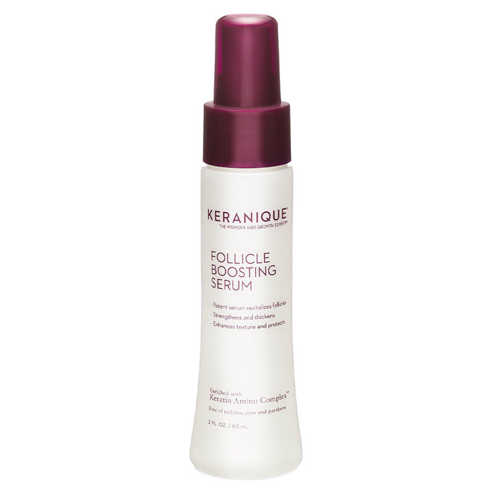 Keranique Follicle Boosting Serum in 2 fl. oz bottle is a potent serum that revitalizes follicles, strenghtens and thickens and protects hair strands and enhances texture.