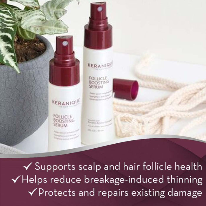 Keranique Follicle Boosting Serum supports scalp and hair follicle health, helps reduce breakage-induced thinning, protects and repairs existing damage