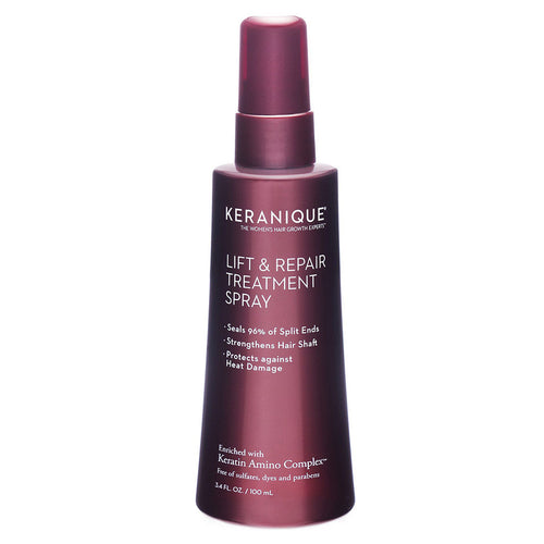 A bottle of Keranique Lift and Repair Treatment spray that seals 96% of split ends, strengthens hair shaft and protects against heat damage