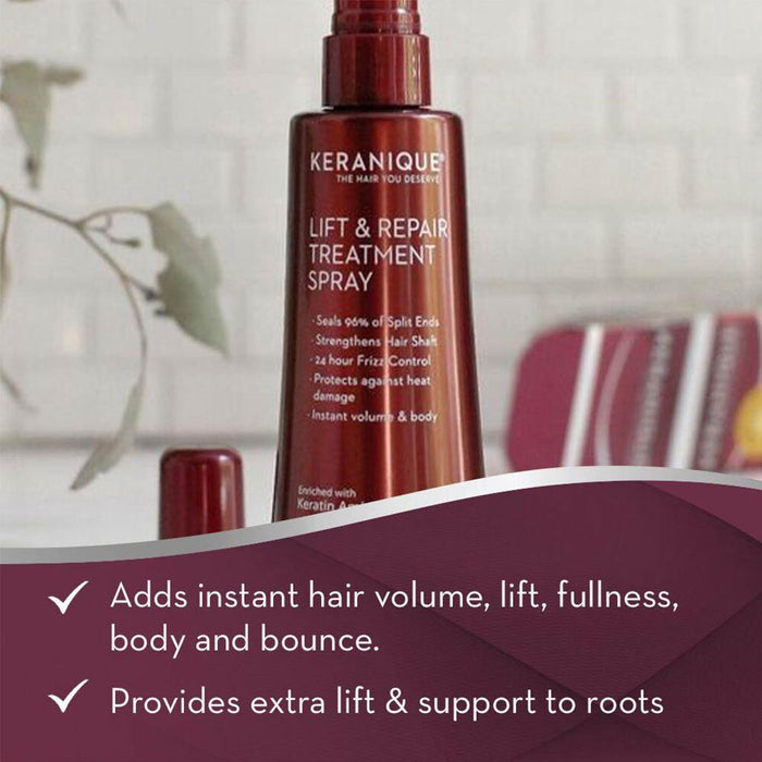 Keranique LIft & Repair Treatment Spray adds instant hair volume, lift, fullness, body and bounce. It also provides extra lift and support to roots.