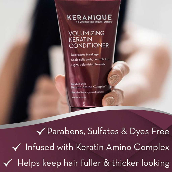 Keranique Deep Hydration Scalp Volumizing Keratin Conditioner for Dry Thinning Hair is Parabens, Sulfates and Dyes Free, infused with Keratin Amino Complex and helps keep hair fuller and thicker looking.