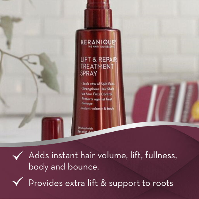 Keranique Lift  & Repair Treatment Spray adds instant hair volume, lift, fullness, body and bounce.