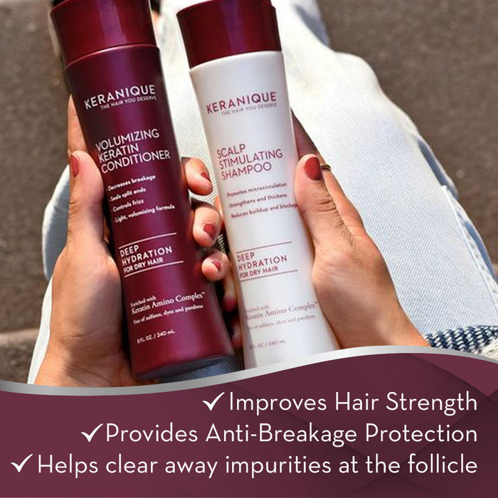 Keranique Curl Preserve Shampoo and Conditioner Set for curly, textured hair can improve hair strength, provide anti-breakage protection and helps clear away impurities at the follicle.