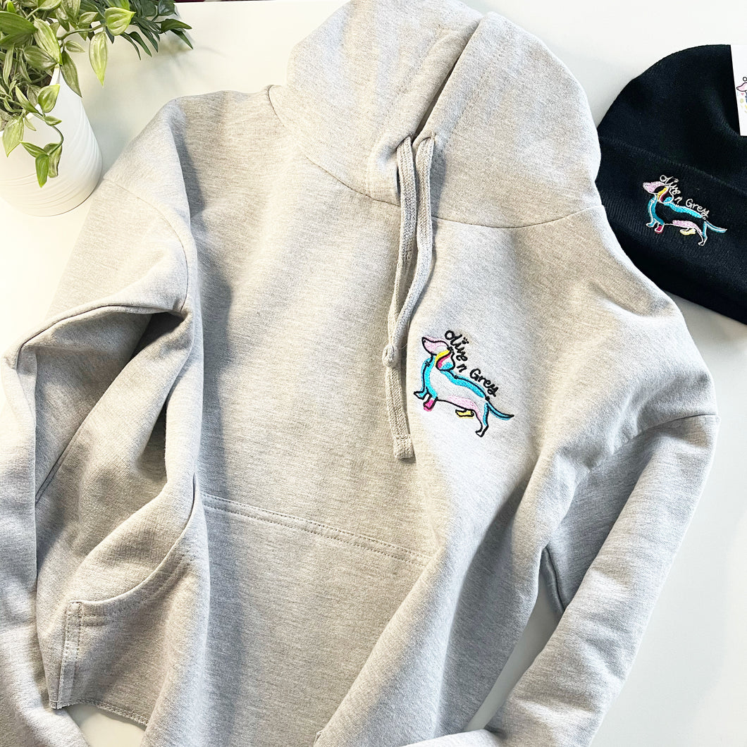 Embroidered Olive n Grey Cropped Hoodie
