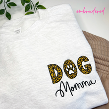 Load image into Gallery viewer, Embroidered Dog Momma Leopard Sweatshirt