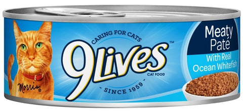9 Lives Meaty Pate with Ocean Whitefish Dinner Canned Cat Food