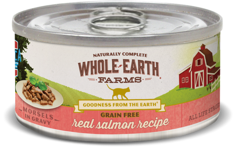 Whole Earth Farms Grain Free Salmon Morsels in Gravy Recipe Canned Cat Food