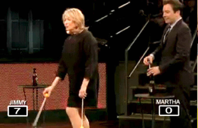 Jimmy Fallon and Martha Stewart play Ladder Golf on Late Night.