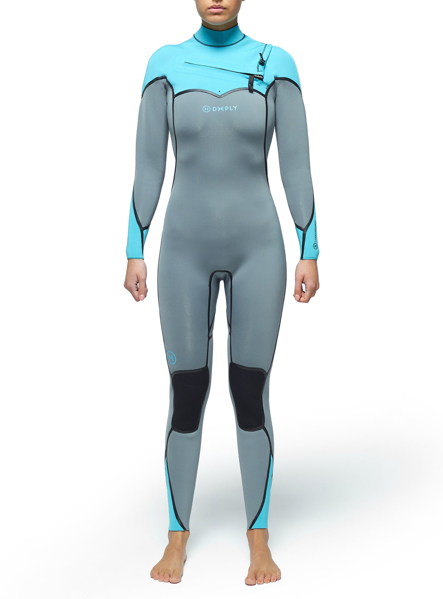 Combinaisons De Surf Femme Performance 3/2 Chest Zip Bleu Clair