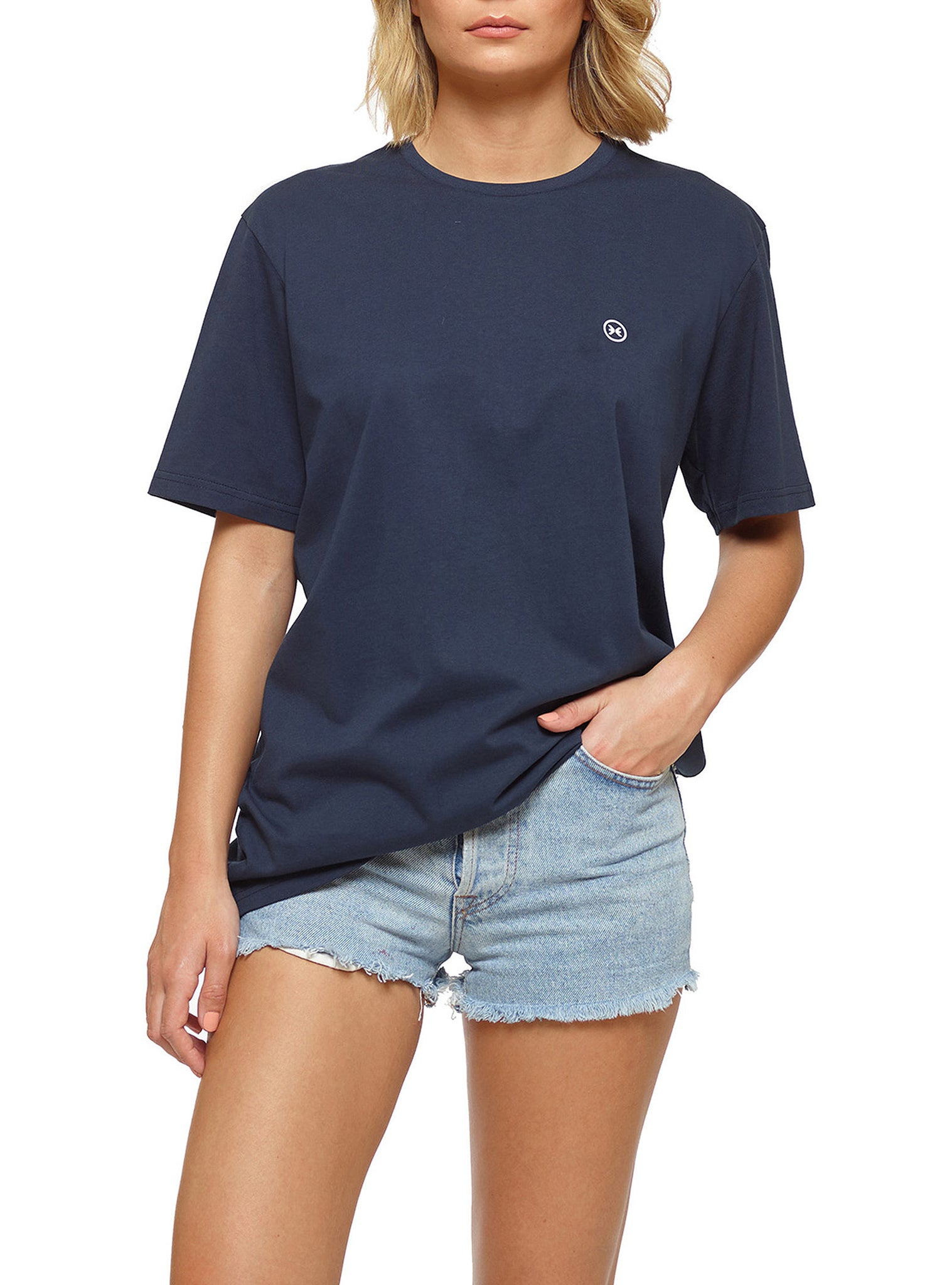 Embroidery T-shirt Manches Courtes Bleu Marine