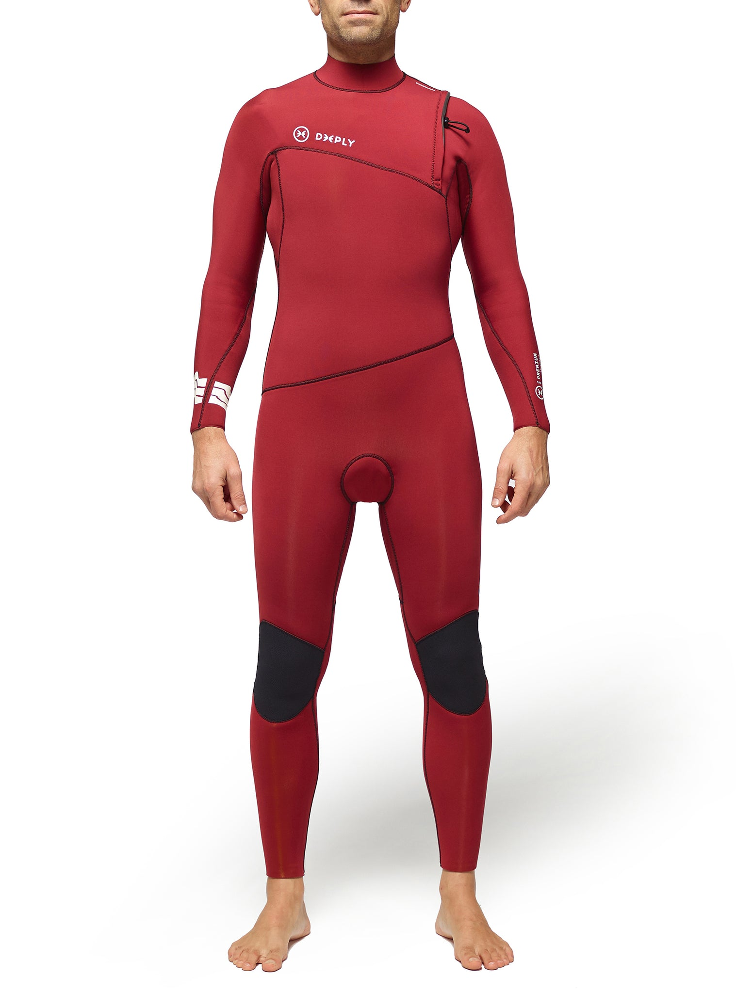 Combinaisons De Surf Homme Premium 4/3 Zipperless Rouge