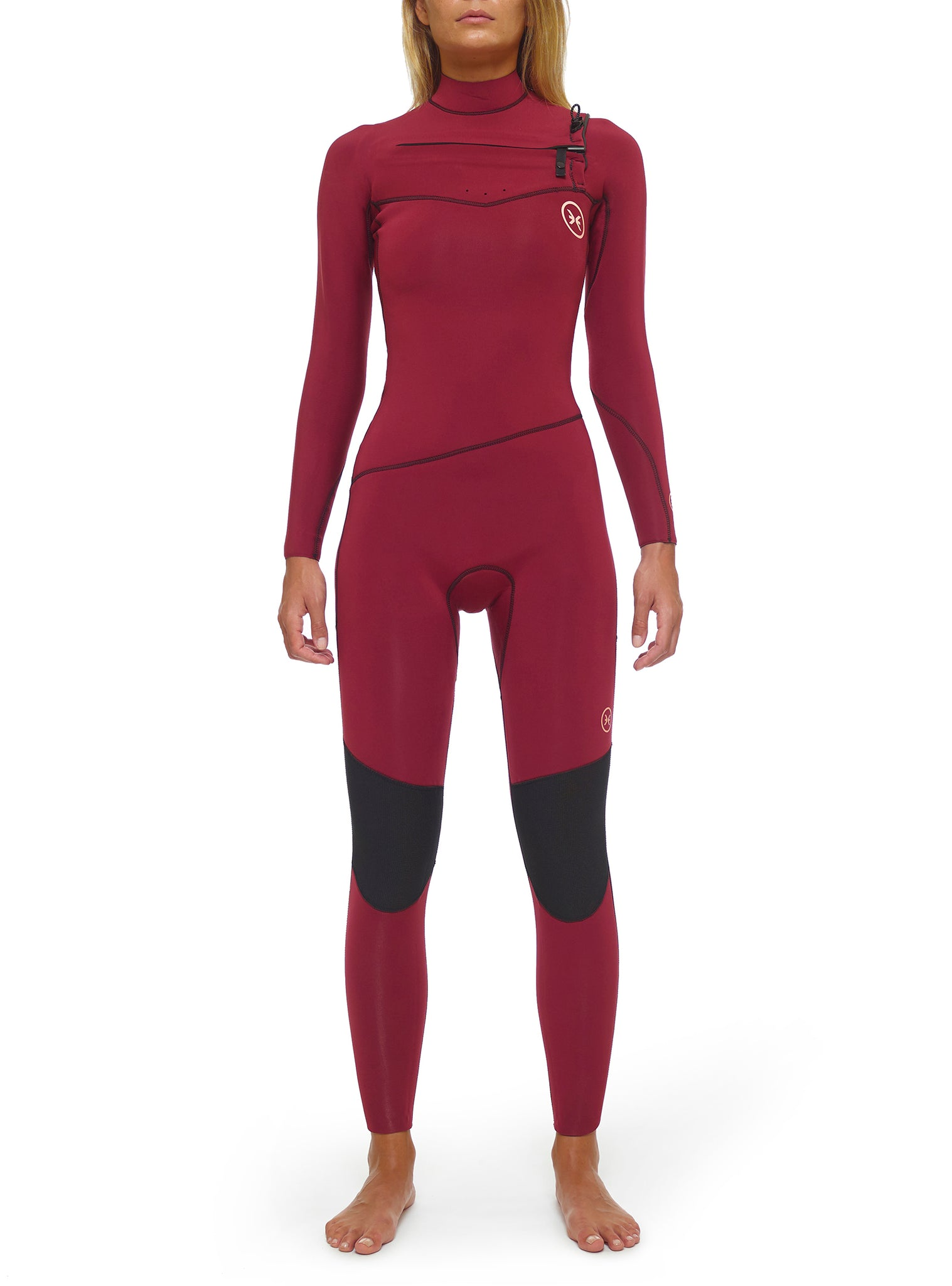 Combinaisons De Surf Femme Premium 4/3 Chest Zip Rouge