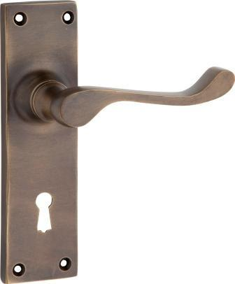 Tradco 'VICTORIAN' LEVER LOCK Antique Brass 152mm x 42mm 0783