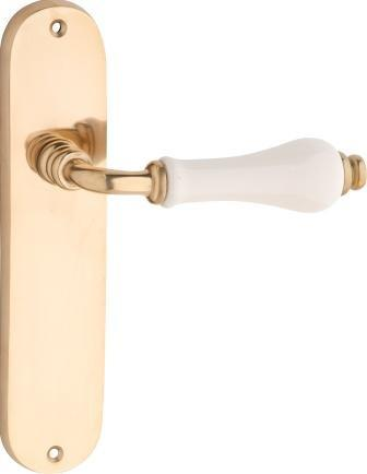 Tradco 'EXETER' LEVER LATCH Ivory Porcelain/Polished Brass 200 x 45mm 0825