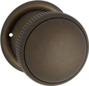 Tradco 'MORTICE KNOB' MILLED EDGE Antique Brass 45mm 0851