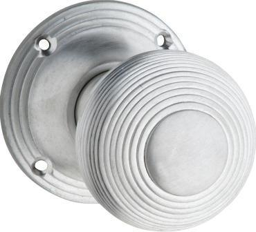 Tradco 'REEDED' MORTICE KNOB Satin Chrome 51mm BP60mm 0914