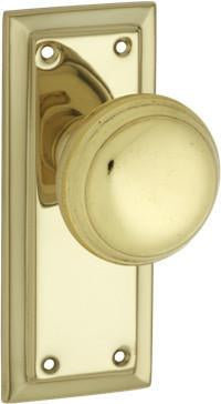 Tradco 'RICHMOND' SHEET BRASS DOOR KNOB Polished Brass 125 x 50mm 0980