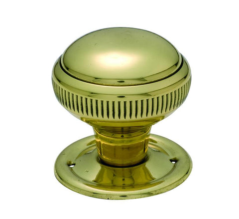 Tradco 'MORTICE KNOB' MILLED EDGE Polished Brass 45mm 1021